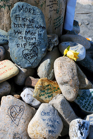 Memorial for a surfer<br /> Newport, Rhode Island<br /> May 2012