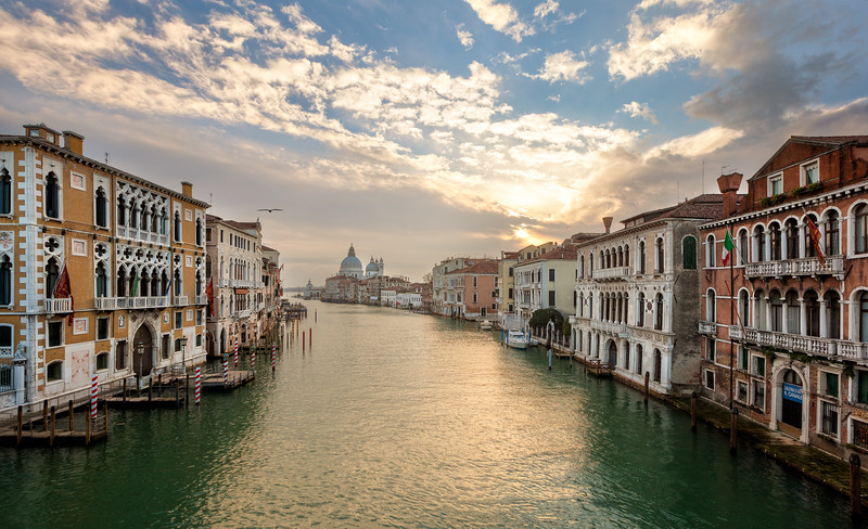 Sunrise on Ponte dell'Accademia, Venice, Italy