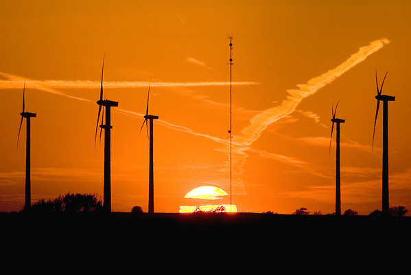 Windmills, contrails, and sunset; near Rockford, IL.