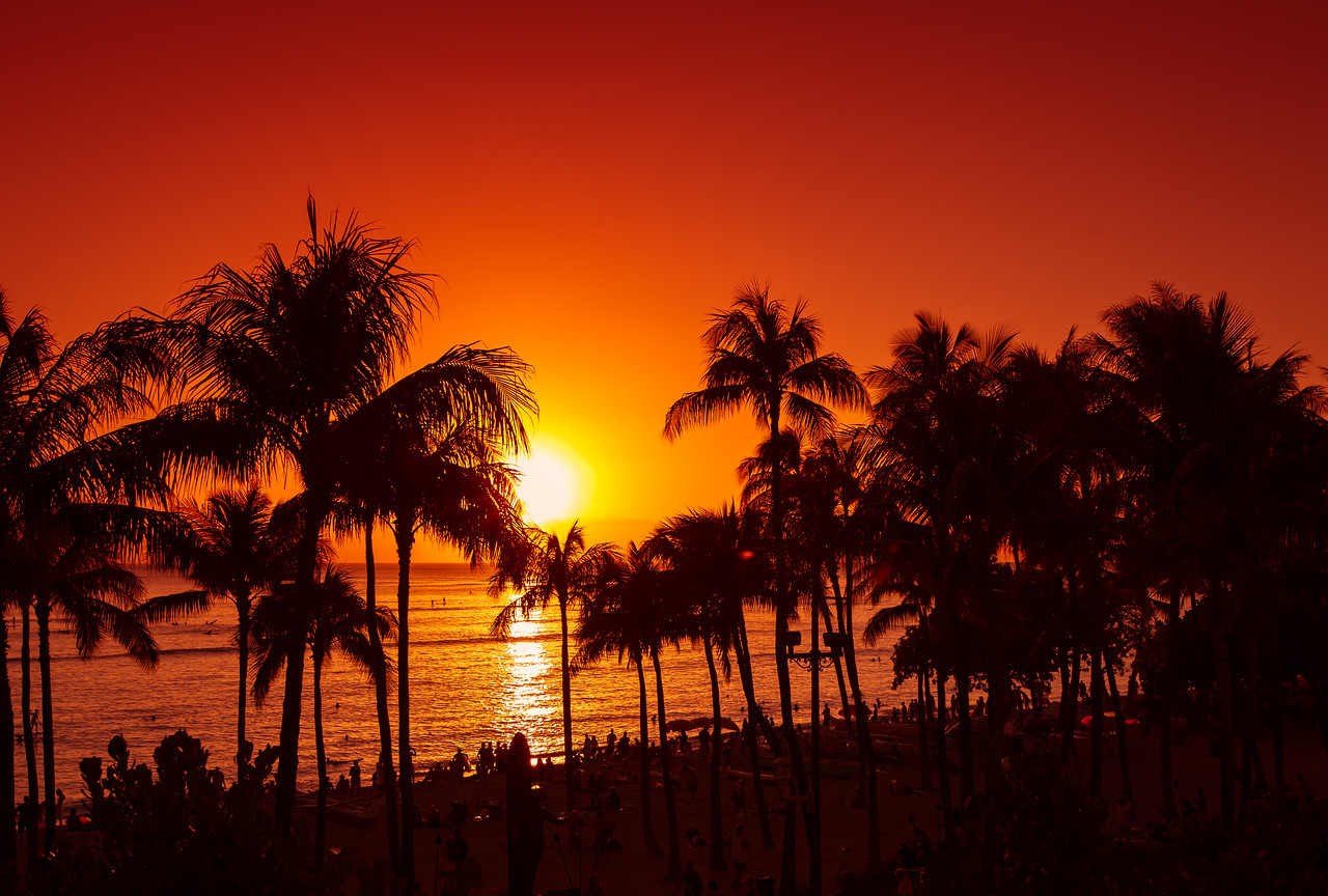Fiery Sunset on Waikiki