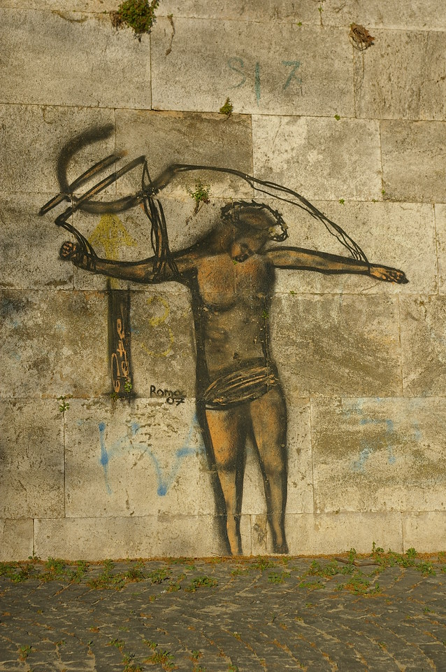 Rome graffiti, banks of River Tiber
