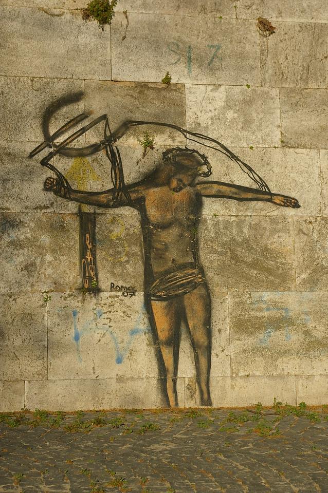 Rome graffiti, banks of River Tiber