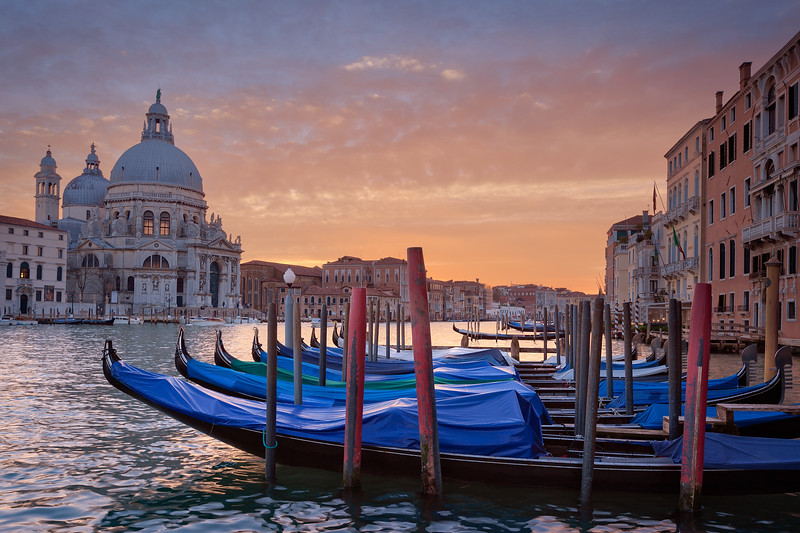 Gondolas of the Venice Grand Canal at Sunset
