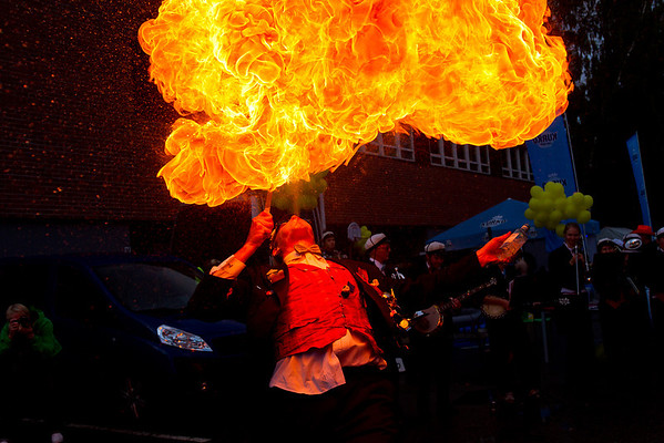 A fire-breather at the Aalto Party demonstrates his mastery of the element of fire.