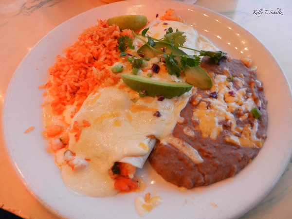 Surely you didn't think that was all I ate?!  Here's the entree - shrimp burrito with refried beans and rice.