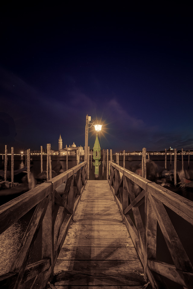 Sepia Night on a Pier at St Mark's Square, Venice, Italy