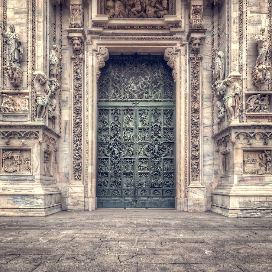 Il Duomo's Main Door in Milan, Italy