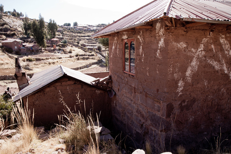 Family dwelling on Taquile island on Lake Titicaca.
