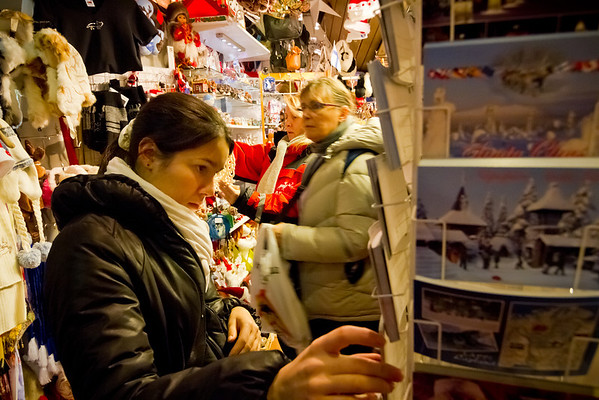 Daphne searches hard for the ideal post card. Not realizing that every shop has the same post cards, we visited every single gift shop in Santa Claus Village...