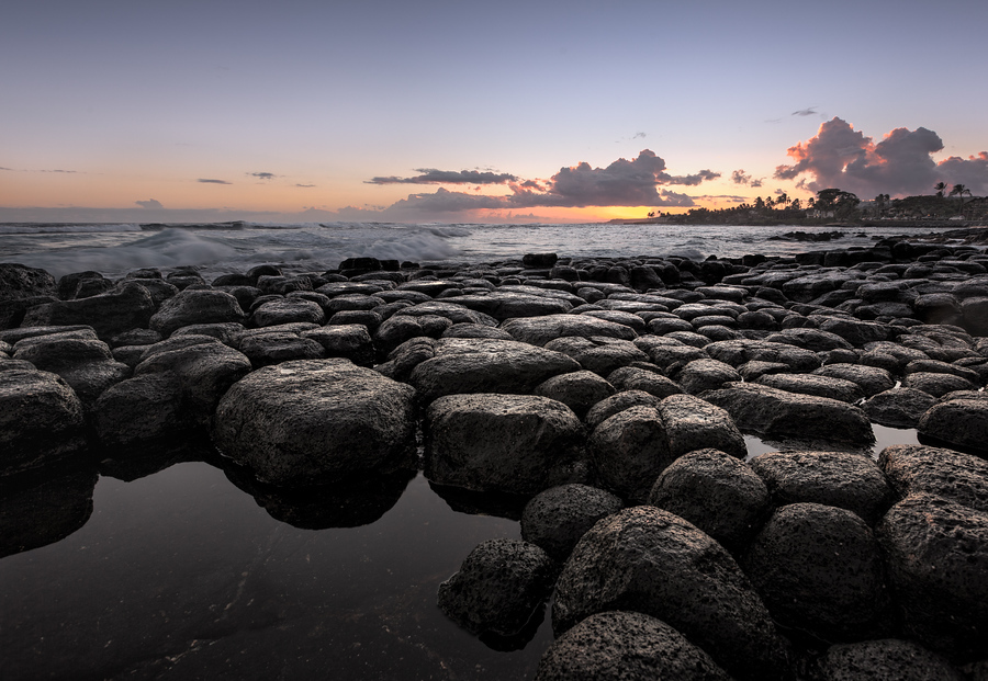 Sunset on a Lava Rock Beach, Kauai, Hawaii
