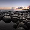 Sunset on a Lava Rock Beach, Kauai, Hawaii