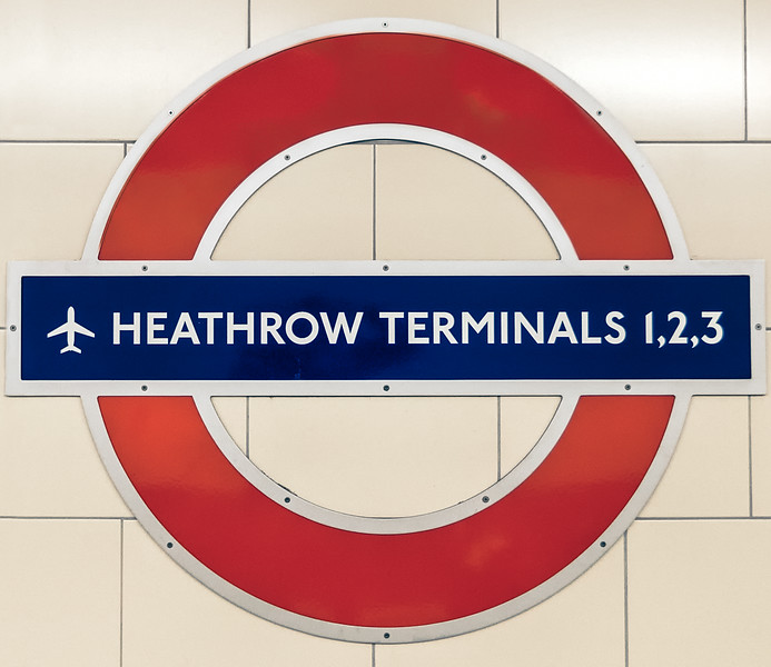 London Tube Station Sign Heathrow Terminals 1,2,3