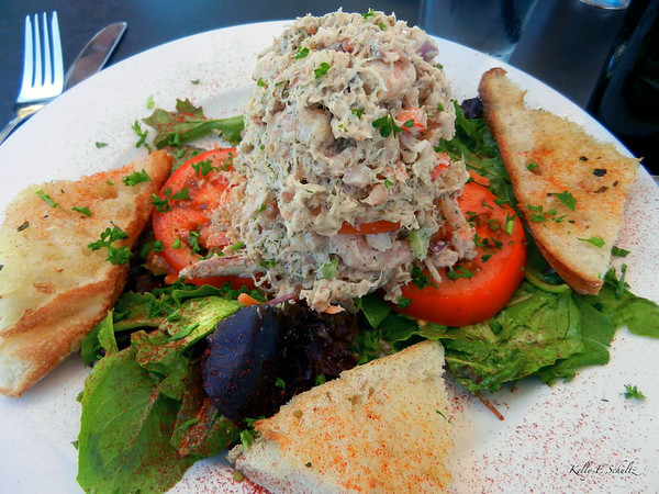 Lunch on Coronado ~ crab and seafood stack.  I was a little hesitant when this arrived for me because I do not like mayonnaise but this was very good.  The bread was nice too.
