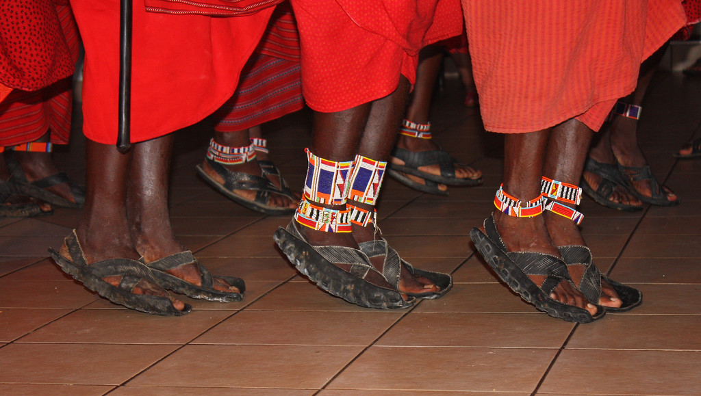 Rubber tyre shoes, Masai dancers.
