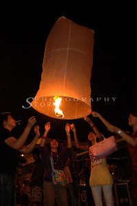 Letting go the lantern in Chiang Mai Lantern Festival.