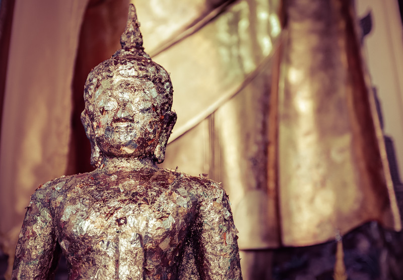 Small Gold Leaf Covered Buddha in Thailand