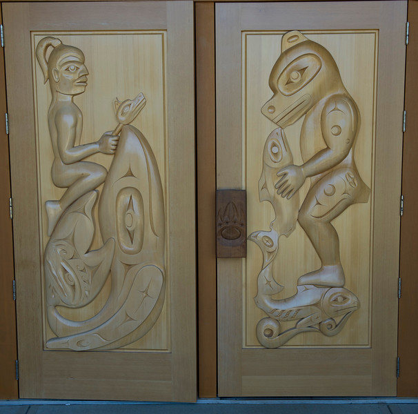 West Coast Art - Carved doors at Port Alberni Tourist Centre