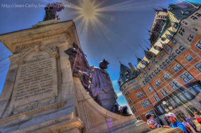 Tried for a different perspective on the most photographed statue in Quebec City!