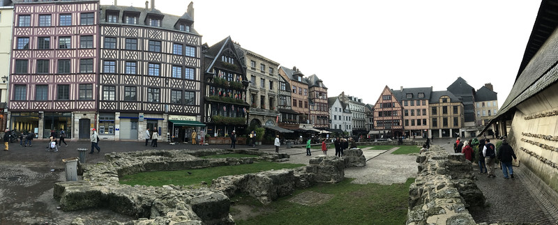 The central area of Rouen has many half-timbered buildings.