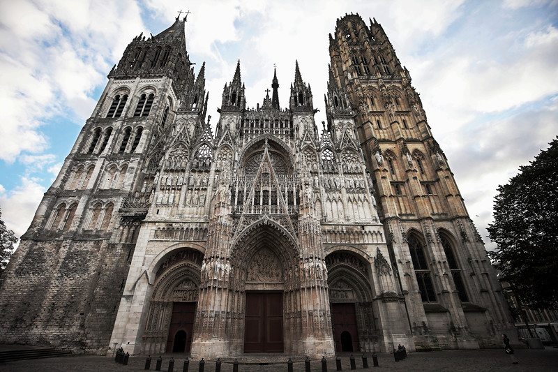 The facade of the great Gothic Cathedral at Rouen.