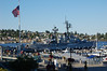 There are lots of naval ships in the shipyards in Bremerton.  We saw aircraft carriers and other smaller ships.