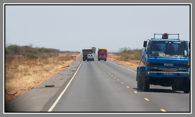 """On the road to from Tsavo East to Tsavo West in south-eastern Kenya. No comment really necessary on the """"What happened next?"""" aspect of the picture, but note how good the Nairobi-Mombassa road is. Tsavo East is on the right, Tsavo West is on the left - the highway runs between the two parks and always has - following the railway line."""