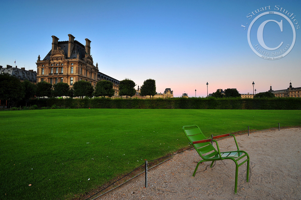 Lonely Louvre<br /> <br /> In the fading light a solitary chair rests from a bustling summer day supporting tourists and Parisians alike.  <br /> <br /> <br /> Ago vita vos somnium (live the life you dream)