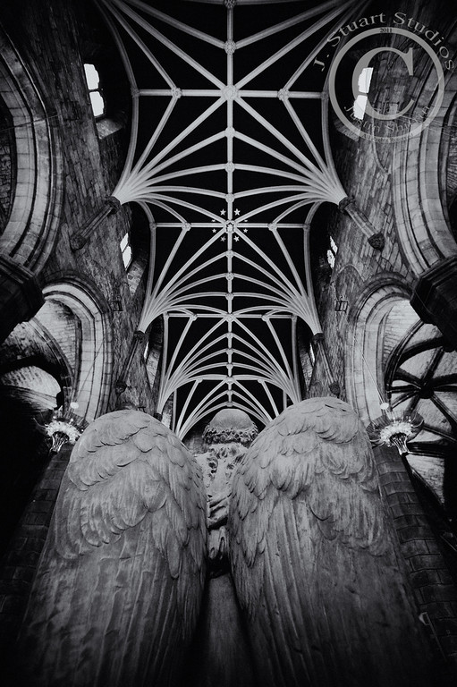 St. Giles Cathedral<br /> <br /> Reflection is a necessary action for the psyche to fully integrate experiences.  This perspective of the kneeling angel (St. Giles Cathedral in Edinburgh) exudes a sense of reflection.  <br /> <br /> Upon starting graduate school in 2010, my beloved photography gear were all thrown in the closet in lieu of crisp new textbooks and a financial calculator. As my studies are nearing completion, more photographs and reflections of travels will be shared.  I hope you enjoy the photos I continue to share.  <br /> <br /> Ago vita vos somnium (live the life you dream)