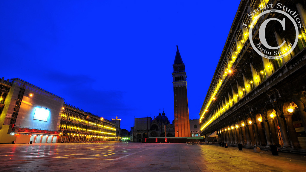 """Piazza San """"Empty"""" Marco<br /> <br /> Piazza San Marco is the most visited attraction in all of Venice, Italy.  The masses that flock to Piazza San Marco during the day take something away from the essence of the Venetian square.  By visiting San Marco Square before sunrise I was able to visit this remarkable piazza without the buzz generated by hordes of onlookers.  A remarkable experience!<br /> <br /> Ago vita vos somnium (live the life you dream)"""