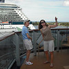 Marilyn pointing to the upper decks