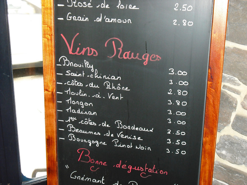Wine menus at place where we had wine, cheese, bread--delicious!