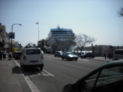 A ship docked downtown