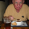 Harvey enjoying chowder and ale