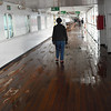 Walking around the Promenade Deck while waiting to disembark