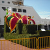 Some of the flower floats that were on the dock next to the ship.  They had had an annual Flower Festival Parade the day before.