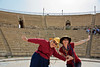 Caesarea. city built 29 BC by Herod the Great. Mom and I on stage.
