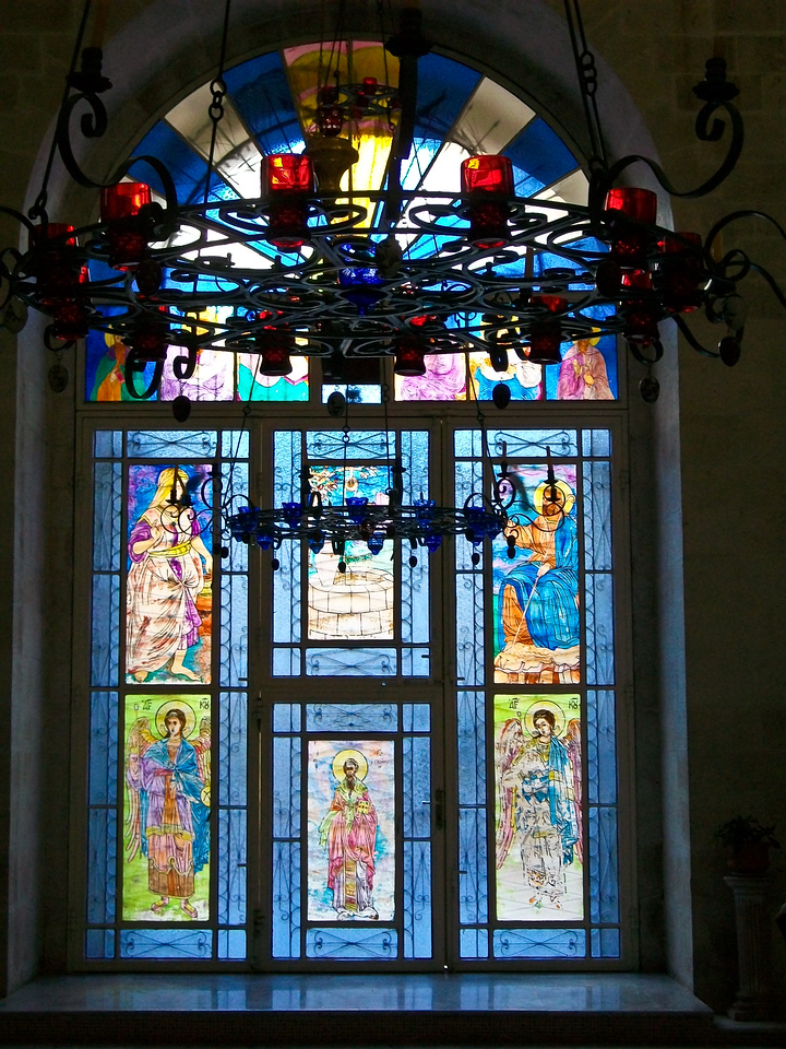 Stained glass in Greek Orthodox Church.