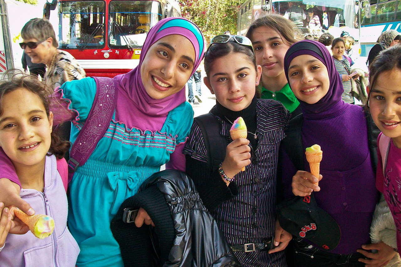let's all take a peak at the tourists! these Palestinian schoolgirls are anxious to try out their English on us- apparently they don't get out much.