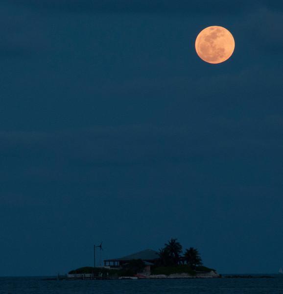 Super Moon over Sombrero Beach in the Florida Keys (Marathon Key), Florida