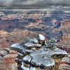 Fresh Fallen Snow Looking Like Marshmallow Topping, Grand Canyon from Mather Point (South Rim) - cropped for an 11x14 print - technique is HDR from a single raw image
