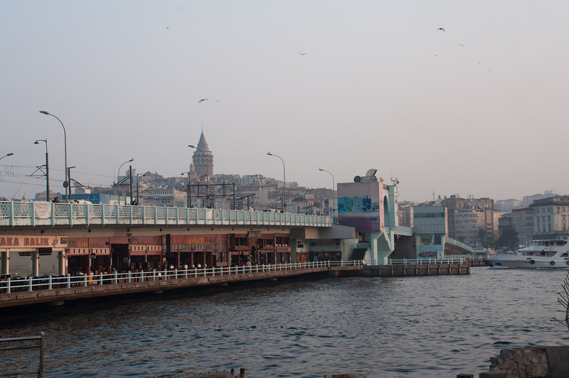 Galata Tower over the Galata Bridge, passage across the Golden Horn.