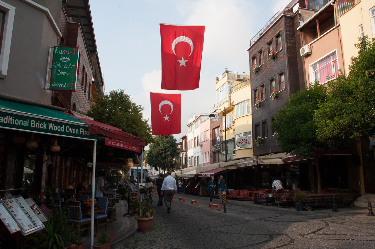 Restaurant-heavy street near our Guesthouse. The Turks fly more national flags than the U.S. on the 4th of July. You'll see a few in these photos.