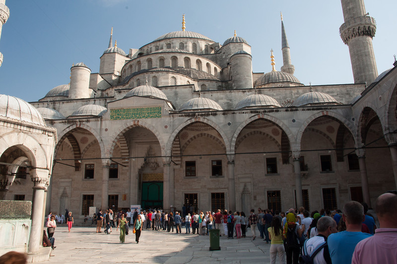 In the courtyard of the Blue Mosque.