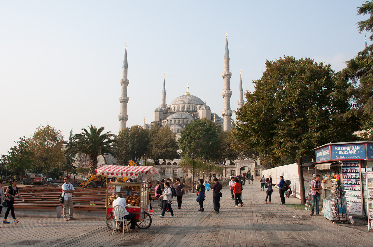 The Blue Mosque in the morning. The Blue Mosque faces the Hagga Sofia, both in the Sultanahmet neighborhood, located on Hill No. 1, site of ancient Byzantium.