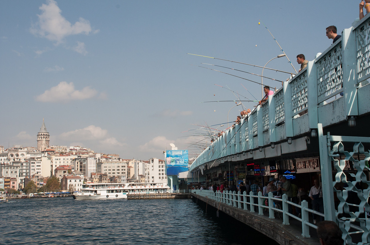 Galata Bridge, Galata tower. Bosphorus cruise looms ahead.