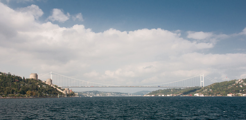 Here is the narrowest point across the Bosphorus and one of two bridges spanning Europe and Asia.