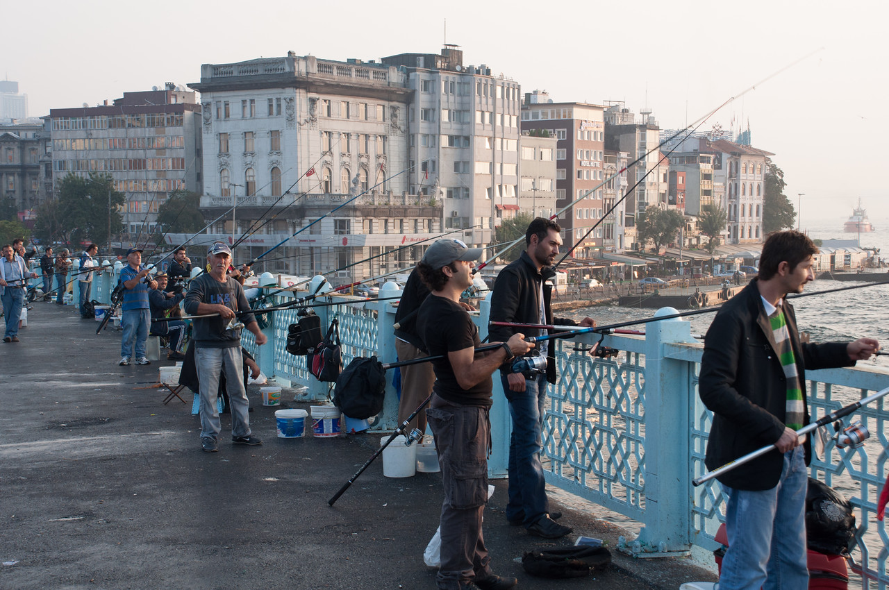 People are always with the fishing on the Galata Bridge. They much catch something, but nothing very big from what I saw. Perhaps they are subsidized by tourist bureau.