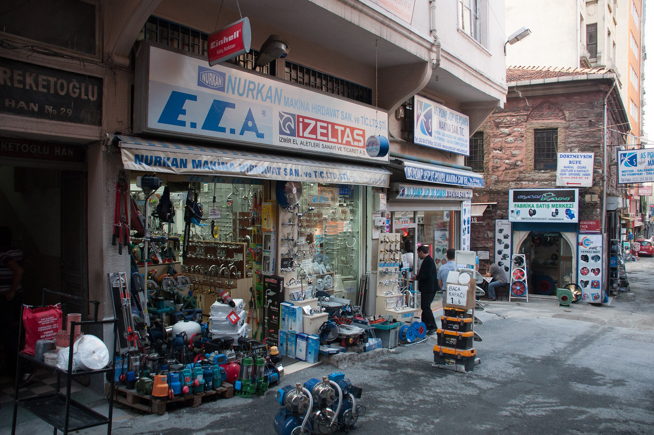 Hardware store section of town is vast and includes every hardware, tool, machine part, machine you can imagine.