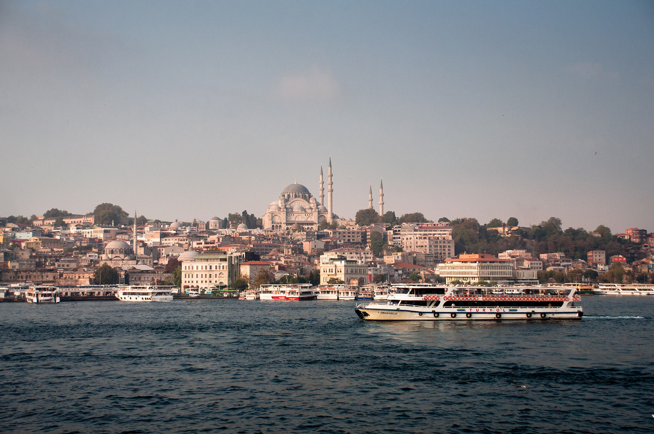 Looking across the Golden Horne to the Sultan Mehmet Mosque.