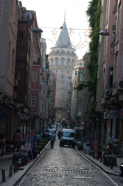 Galata Tower. Plaque at the base says it commemorates Sultan Mehmet the Conqueror's storming of the gates of Byzantium in 1453. I hoped for a better light but got the wrong time of day.